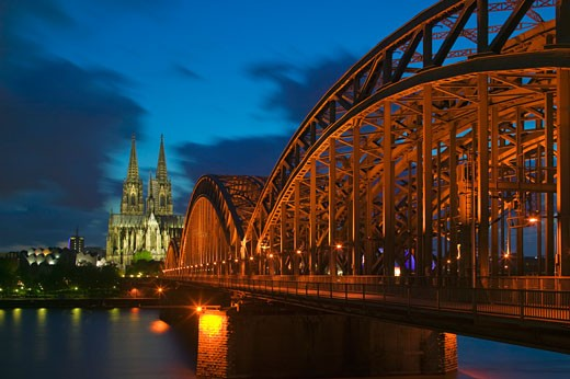 Cologne skyline at twilight Germany : Stock Photo