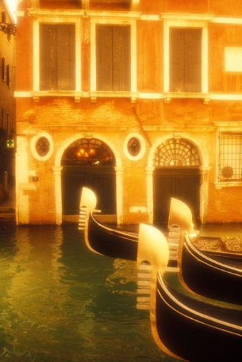 Italy Venice gondolas on a canal : Stock Photo