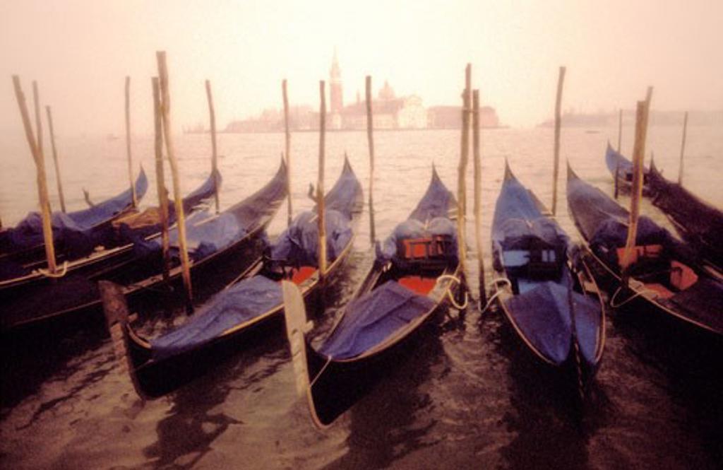 Italy Venice Gondolas and San Giorgio Maggiore : Stock Photo