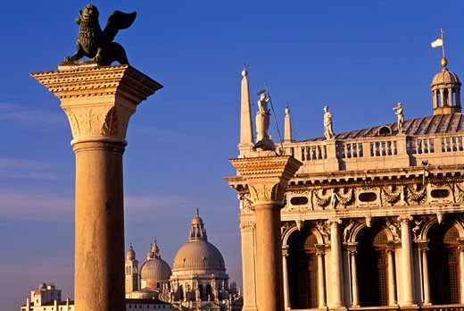 Italy Venice The Columns of San Marco and San Teodoro and Santa Maria della Salute Piazzetta San Marco : Stock Photo