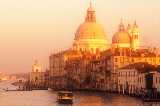 Italy Venice The Grand Canal with Santa Maria della Salute and a vaporetto : Stock Photo
