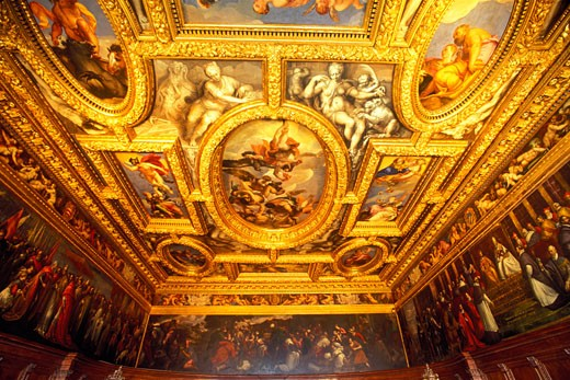 Stock Photo: 1902-1464 Italy Venice The Doges Palace interior view of decorated ceiling