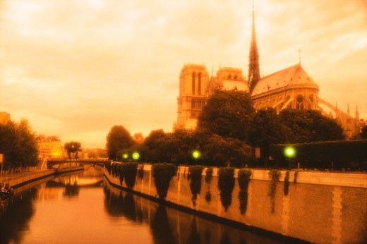 Stock Photo: 1902-1833 France Paris Notre Dame and the Seine River
