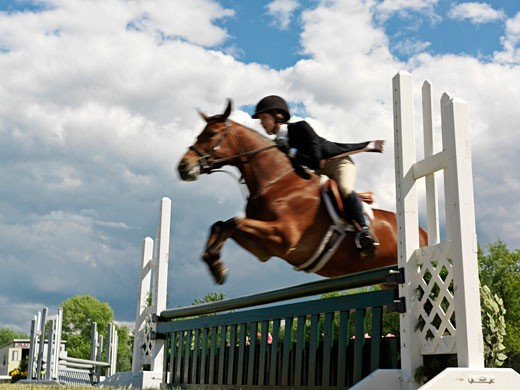 Canada Ontario Niagara-on-the-Lake teenage female equestrian jumping a hurdle : Stock Photo