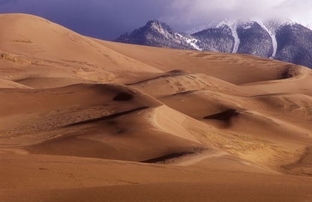 Stock Photo: 1902-2073 USA Colorado Great Sand Dunes National Park dunes with Sangre de Cristo Mountains