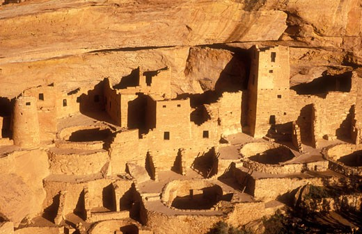 Stock Photo: 1902-2094 USA Colorado Mesa Verde National Park Cliff  Palace cliff dwellings of the Anasazi AD 1200