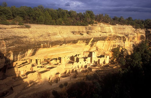 Stock Photo: 1902-2096 USA Colorado Mesa Verde National Park Cliff Palace cliff dwellings of the Anasazi AD 1200