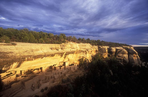 Stock Photo: 1902-2099 USA Colorado Mesa Verde National Park Cliff Palace cliff dwellings of the Anasazi AD 1200