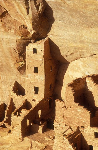 Stock Photo: 1902-2101 USA Colorado Mesa Verde National Park Square Tower House cliff dwellings of the Anasazi AD 1200