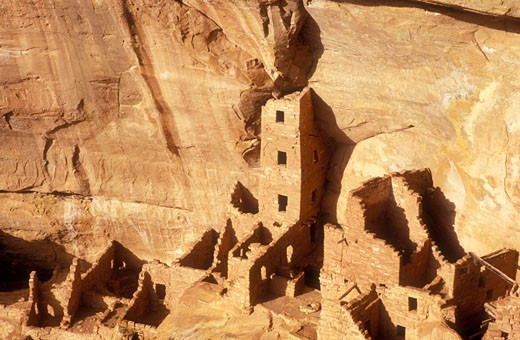 USA Colorado Mesa Verde National Park Square Tower House cliff dwellings of the Anasazi AD 1200 : Stock Photo