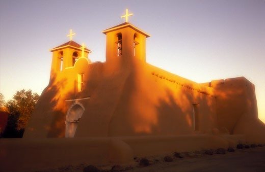 Stock Photo: 1902-2155 USA New Mexico Ranchos de Taos Church of Saint Francis of Assisi 1730