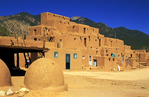 Stock Photo: 1902-2158 USA New Mexico Taos Pueblo Continuous habitation since AD 1350   NO PROPERTY RELEASE