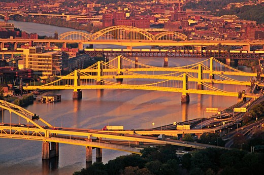 USA Pennsylvania Pittsburgh bridges spanning the Allegheny River : Stock Photo