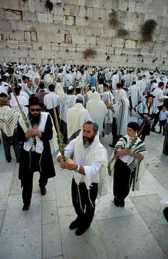 Jerusalem Old City the Priestly Blessing ceremony at the Western Wall : Stock Photo