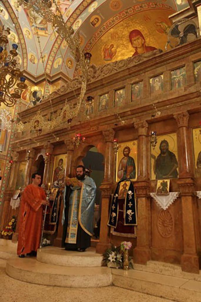 Stock Photo: 1904-1249 Greek Orthodox ceremony Capernaum Israel