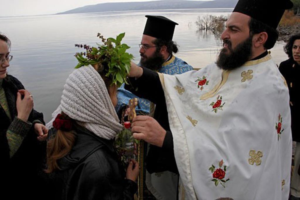 Greek Orthodox ceremony Capernaum Israel : Stock Photo