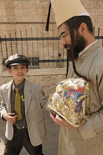 Stock Photo: 1904-1272 Father and son Purim  Jerusalem