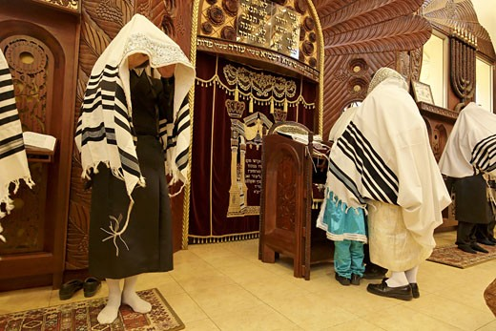 Priestly Blessing prayer Bnei Brak Israel : Stock Photo
