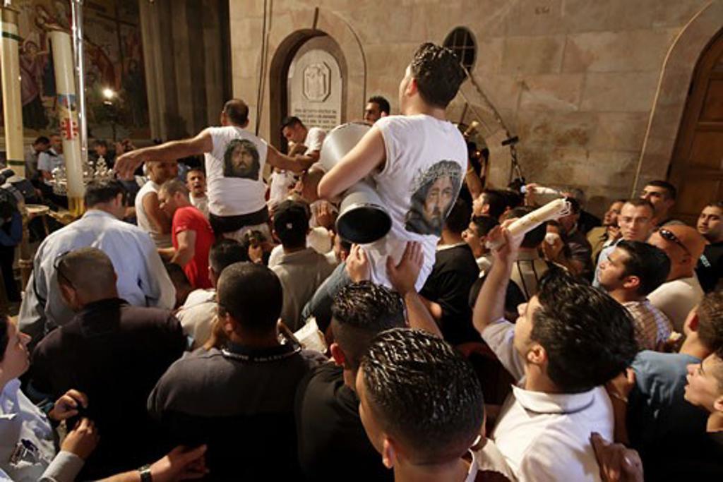Holy Saturday celebration Jerusalem : Stock Photo