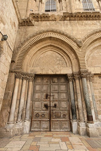 doors of the Church of the Holy Sepulchre Jerusalem : Stock Photo