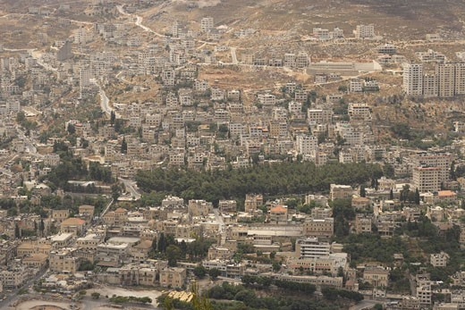 Stock Photo: 1904-2842 The Palestinian city Nablus as seen from Mount Ebal