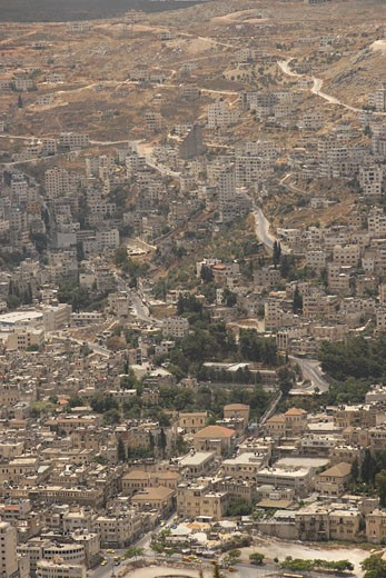 Stock Photo: 1904-2846 The Palestinian city Nablus as seen from Mount Ebal