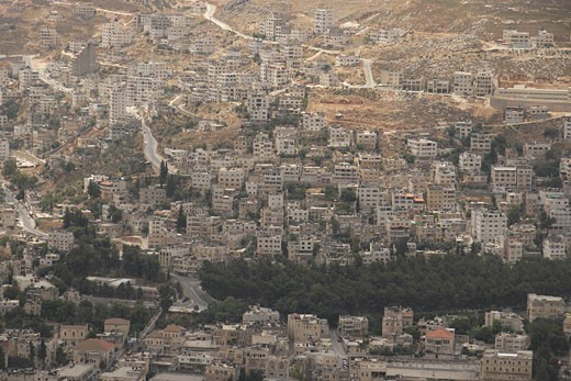 The Palestinian city Nablus as seen from Mount Ebal : Stock Photo