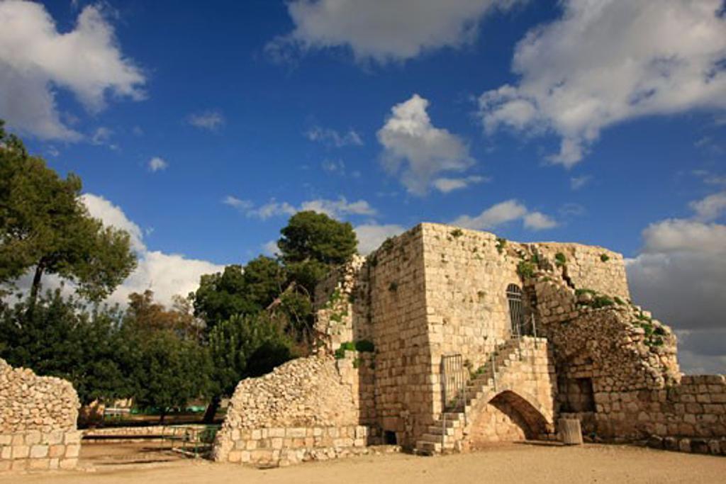 Ottoman fortress Binar Bashi on Tel Afek the location of the Roman city Antipatris : Stock Photo