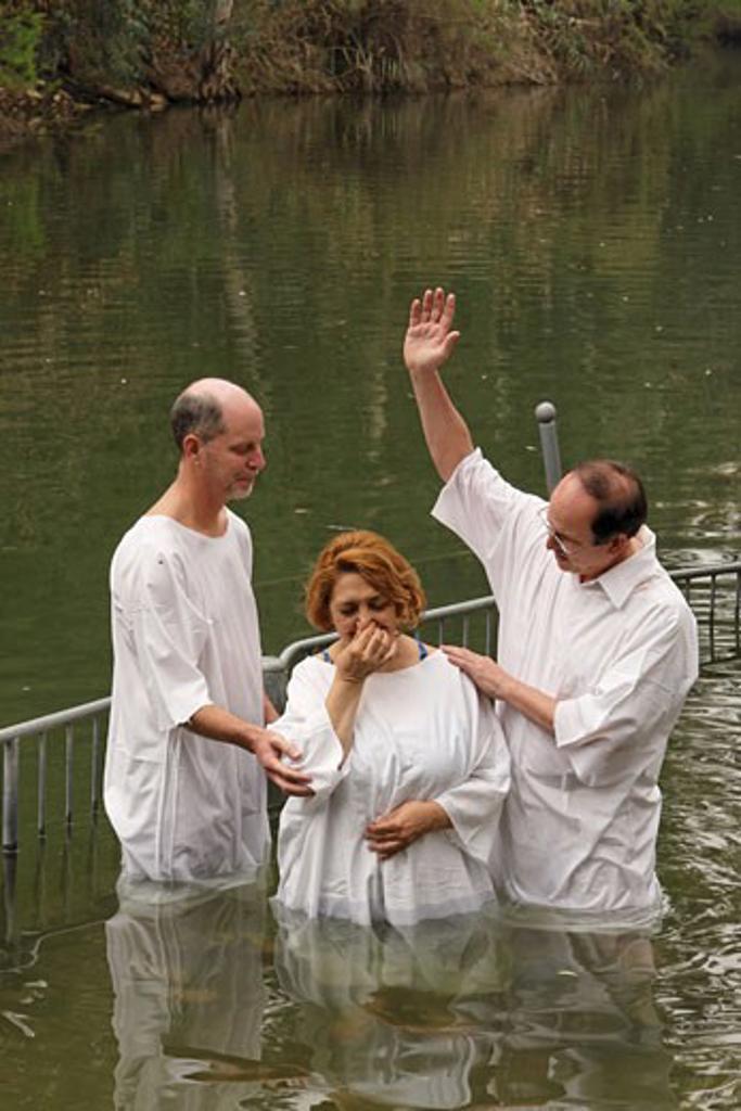 Baptism ceremony in Yardenit : Stock Photo