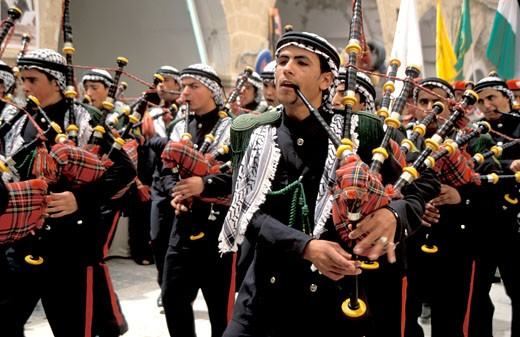 Palestinian band at  the annual Palestinian pilgrimage to Nabi Musa : Stock Photo