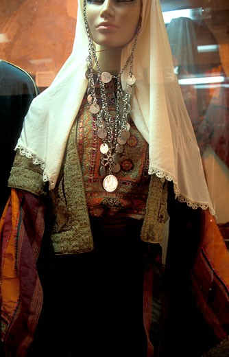 Old Bethlehem Folklore Museum A traditional Palestinian dress : Stock Photo