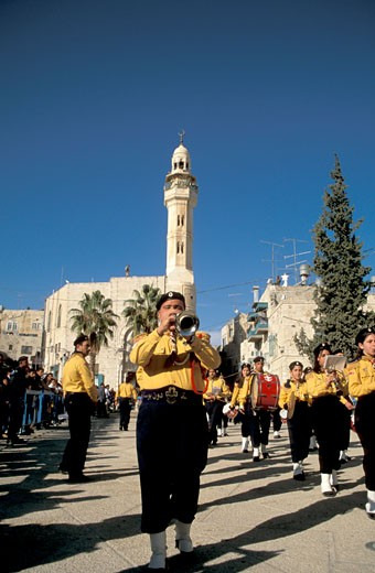 Stock Photo: 1904-7034 Bethlehem Palestinian band at the Christmas Procession