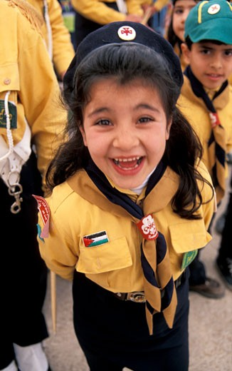 Bethlehem a Palestinian girl scout at the Christmas procession : Stock Photo