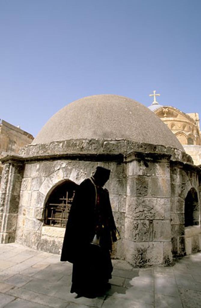 Ethiopian Orthodox Monk at Deir es Sultan : Stock Photo