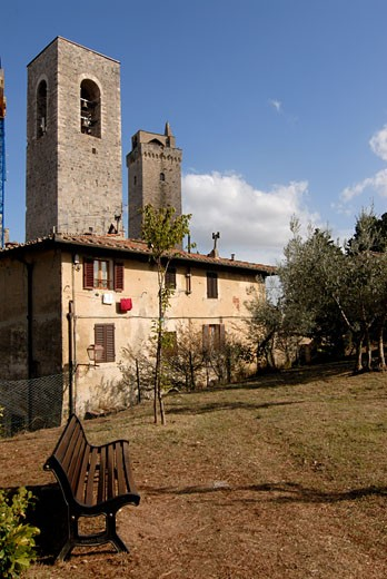 Stock Photo: 1906-2466 The medieval town of San Giminiano Tuscany Italy
