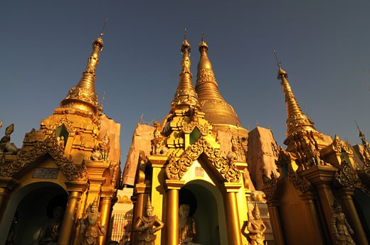Stock Photo: 1906-2716 Golden Stuppas in the Shwedagon Pagoda Myanmar Asia