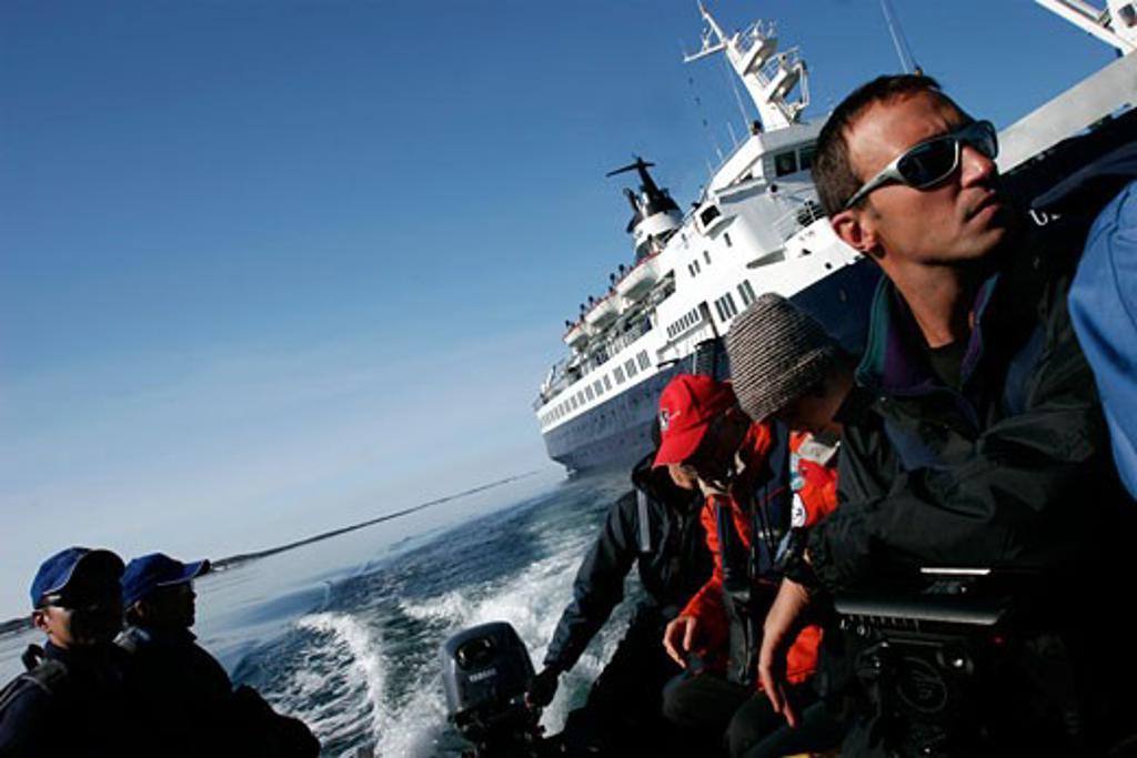 Arrival at the Killiniq islands  near Baffin island : Stock Photo