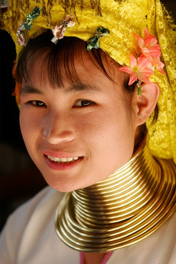 One Padong girl in the area of Doi Tung  in the Golden Triangle : Stock Photo