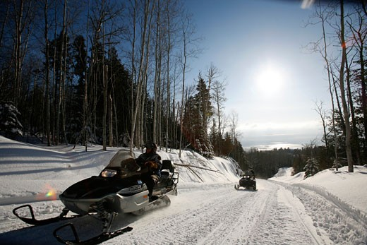 A skidoo expedition in the area of Charlevoix Quebec : Stock Photo
