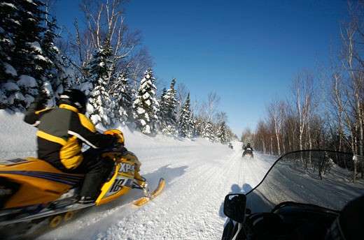 Stock Photo: 1907-1152 A skidoo expedition in the area of Charlevoix Quebec