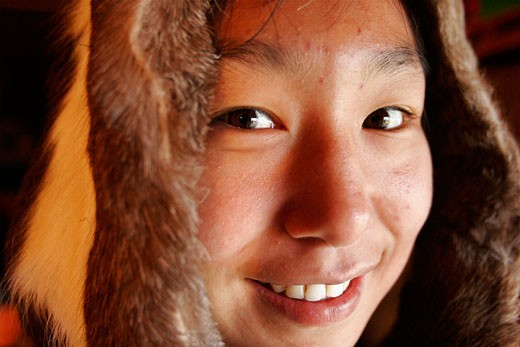 A young inuit girl of Cape Dorset  on Baffin island : Stock Photo