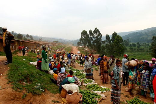 The Bukanga market in the west of Uganda : Stock Photo