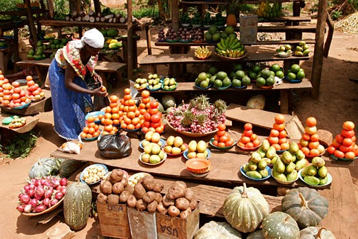 Stock Photo: 1907-2017 Some fruits and vegetables on the Bukanga market  west of Uganda