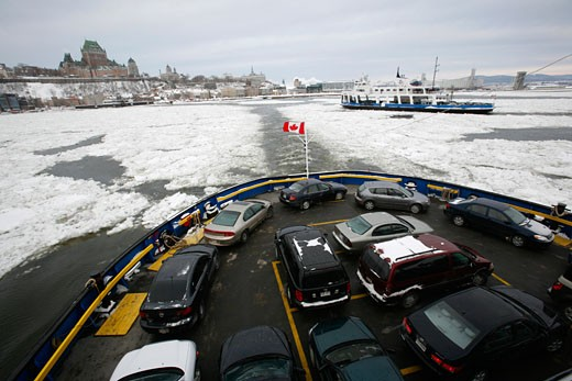 Stock Photo: 1907-2268 On the Passagere ferry boat between the two shores of the Saint-Laurent Quebec City Quebec