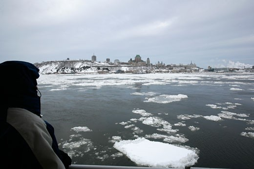 On the Passagere ferry boat between the two shores of the Saint-Laurent Quebec City Quebec : Stock Photo
