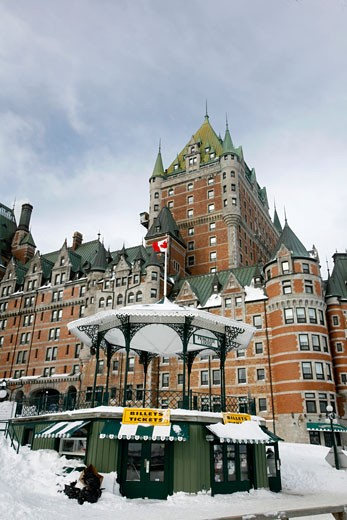 The beautiful hotel of Cha teau Frontenac in the center of Quebec City Quebec : Stock Photo