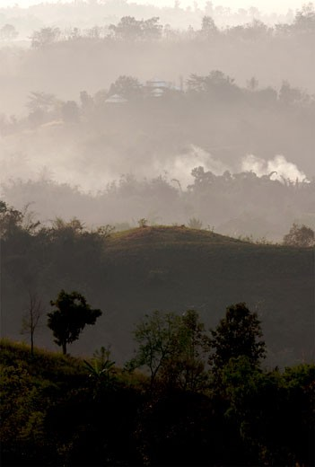 In the middle of the mountains of the Golden Triangle  right between Burma and Thailand : Stock Photo