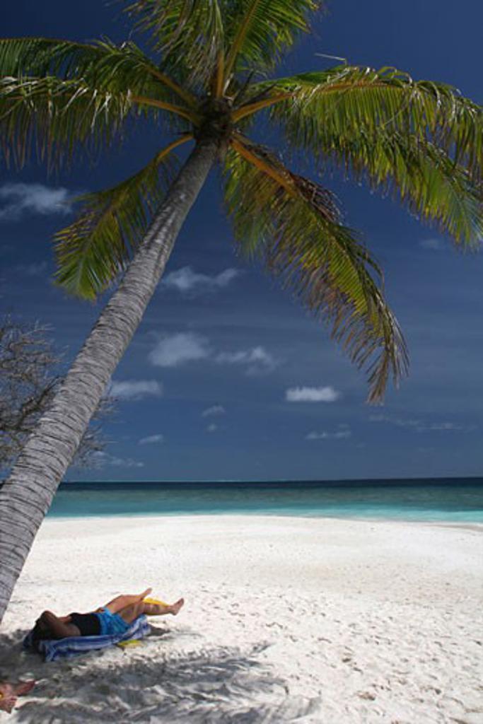 Stock Photo: 1907-2529 Sunbath on a beach of Embudu island Maldives