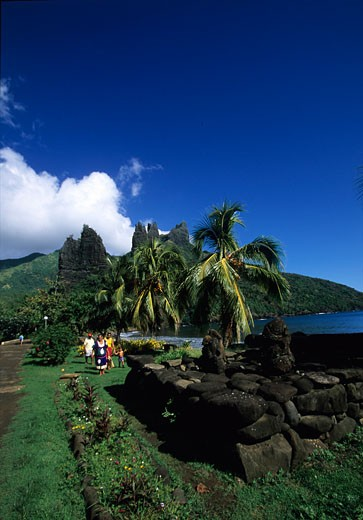 A Meae along the bay of Hanaho Nuku Hiva island Marquises islands : Stock Photo