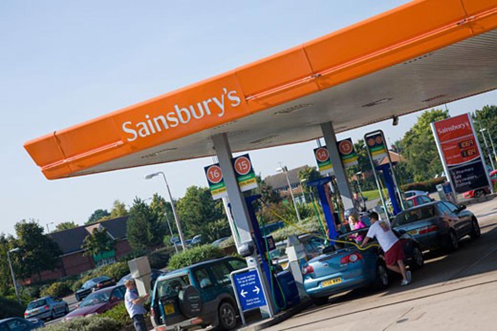 Stock Photo: 1909-1384 Sainsburys Petrol Station forecourt in Meole Brace Retail Park Shrewsbury Shropshire England UK United Kingdom GB Great Britain British Isles Europe EU